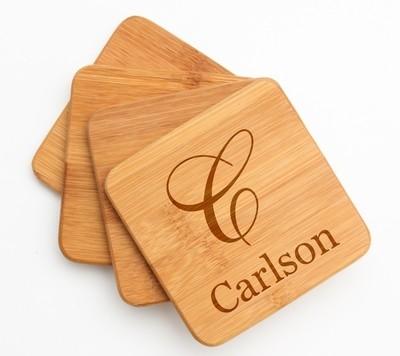Personalized Bamboo Coasters Engraved Bamboo Coaster Set DESIGN 3