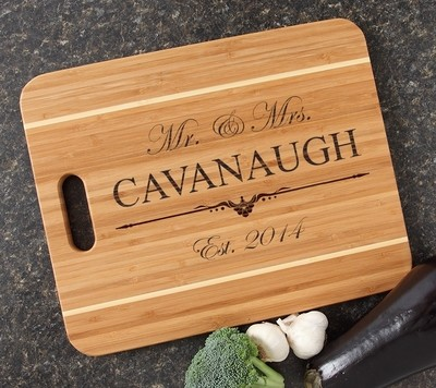 Personalized Cutting Board Engraved 15x12 Handle DESIGN 19