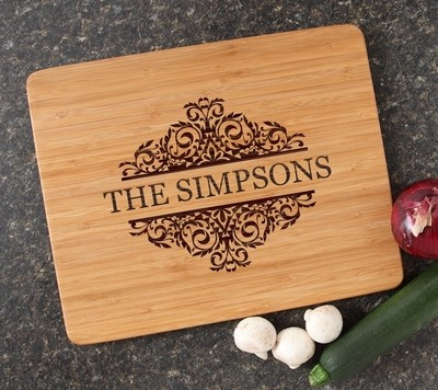Engraved Bamboo Cutting Board Personalized 15x12 DESIGN 39