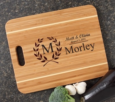Personalized Cutting Board Engraved 15x12 Handle DESIGN 6