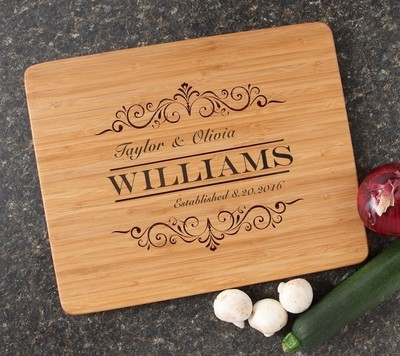 Engraved Bamboo Cutting Board Personalized 15x12 DESIGN 34