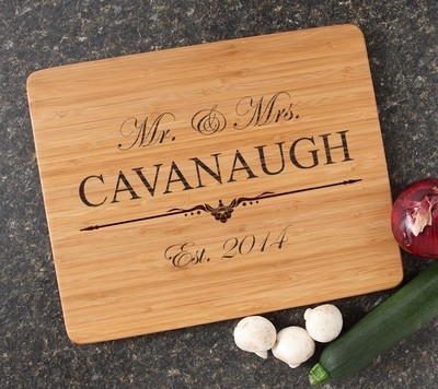 Engraved Bamboo Cutting Board Personalized 15x12 DESIGN 19