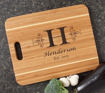 Personalized Cutting Board Engraved 15x12 Handle DESIGN 2
