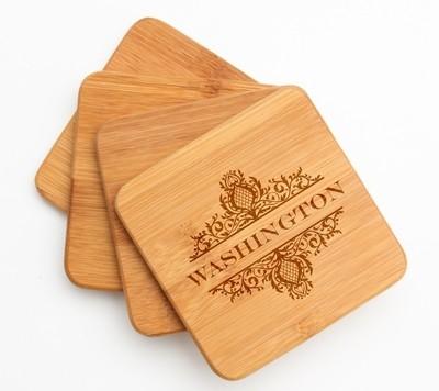 Personalized Bamboo Coasters Engraved Bamboo Coaster Set DESIGN 36
