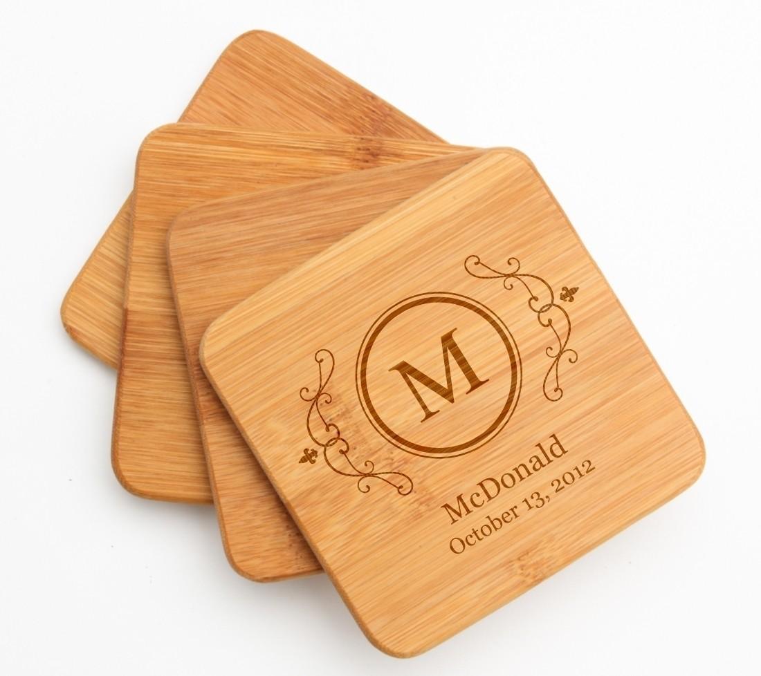 Personalized Bamboo Coasters Engraved Bamboo Coaster Set DESIGN 10