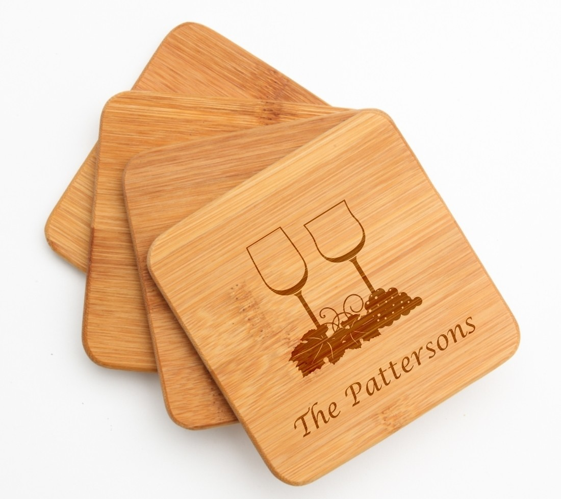 Personalized Bamboo Coasters Engraved Bamboo Coaster Set DESIGN 5