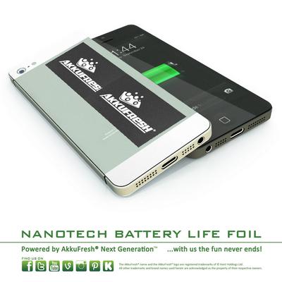 Akkufresh Battery Life Foil - Twin Pack - increase battery life!