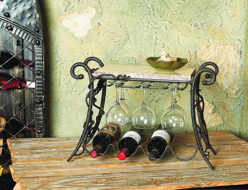 Vineyard 4 bottle Wine & Glasses Rack