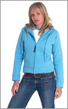 Embroidered Hooded SweatShirt - Ladies Fitted Zipped Front