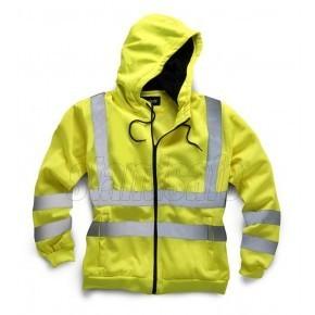Hi Vis Zipped Front Hooded Sweatshirt