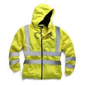 Embroidered Hi Vis Hooded Sweatshirt - Zipped Front