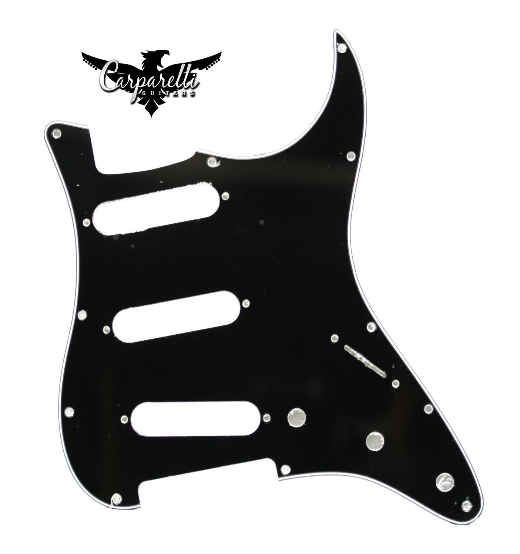 Carparelli SSS Strat® Pickguard 11 Holes 1 Ply Black