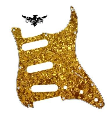 Carparelli SSS Strat® Pickguard 11 Holes 4 Ply Pearloid Bronze