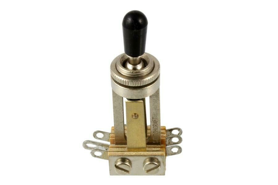 Switchcraft 3-Pickup straight toggle switch, pre-tinned at factory, with knurled nut & knob, for 3 pickup Gibson®.