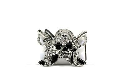 Arrrh Billy Pirate Skull Belt Buckle Bejewelled