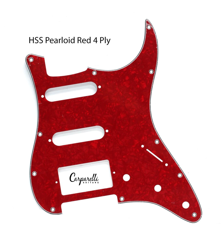 Brio HSS Strat® Pickguard 11 Holes Pearloid Red