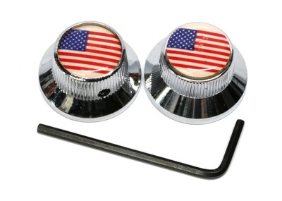 2 Chrome USA FLAG Metal Bell knobs US size fit. Set Screw