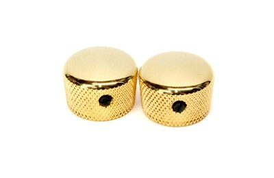 Gold Cupcake metal knobs (2), with set screw, fits USA solid shaft pots.3/4