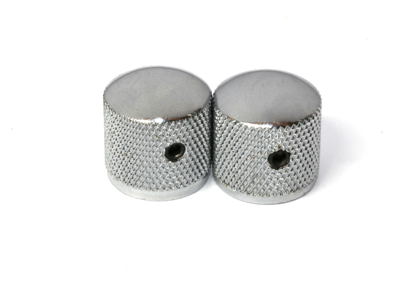 "Chrome Dome knobs (2), Gotoh, with set screw, fits USA split shaft pots, 23/32"" tall x 3/4"" wide."
