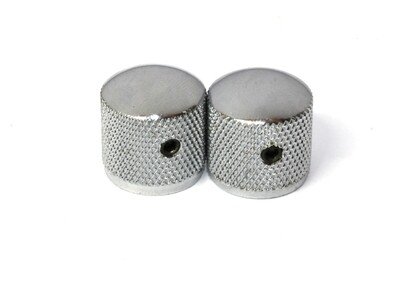 Chrome Dome knobs (2), Gotoh, with set screw, fits USA split shaft pots, 23/32
