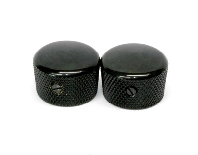 Black Cupcake metal knobs (2), with set screw, fits USA solid shaft pots.3/4