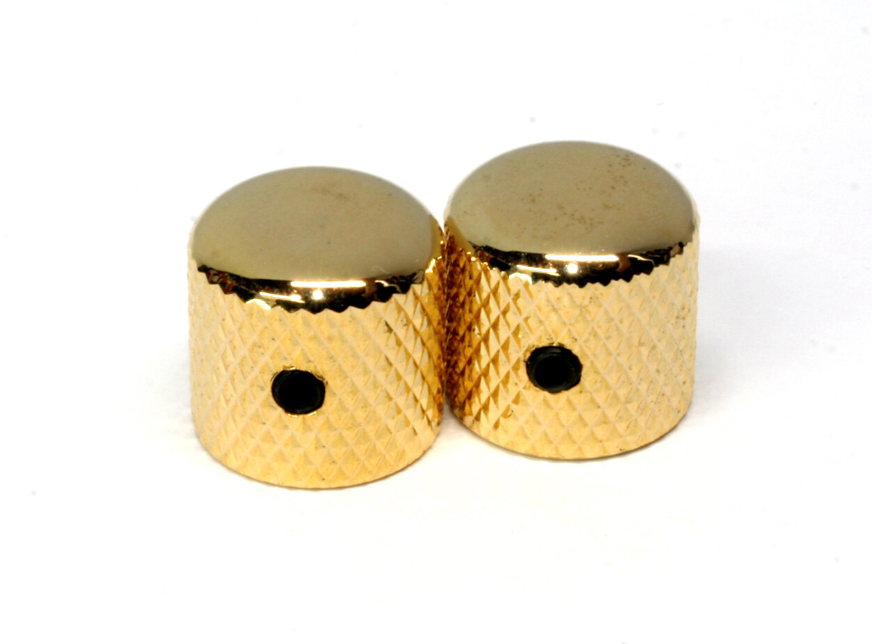 """Gold Dome knobs (2), Gotoh, with set screw, fits USA split shaft pots, 23/32"""" tall x 3/4"""" wide."""
