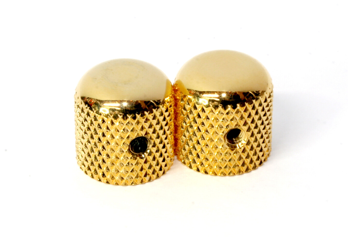 Gold Heavy Knurl Metal Dome Knobs x 2