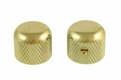 Gold Short dome knobs (2), Gotoh, with set screw, fits USA split shaft pots, 5/8