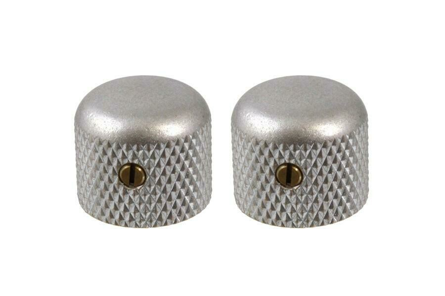"""Aged Short dome knobs (2), Gotoh, with set screw, fits USA split shaft pots, 5/8"""" tall x 3/4"""" wide."""