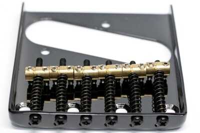 Brio Black Tele® Vintage Style Bridge with 6 Individual Brass saddles
