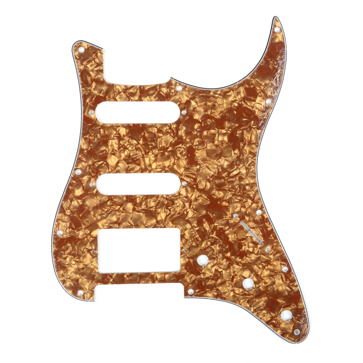 Brio 11-Hole Modern Style Strat HSS Pickguard for American Stratocaster Pearl Bronze