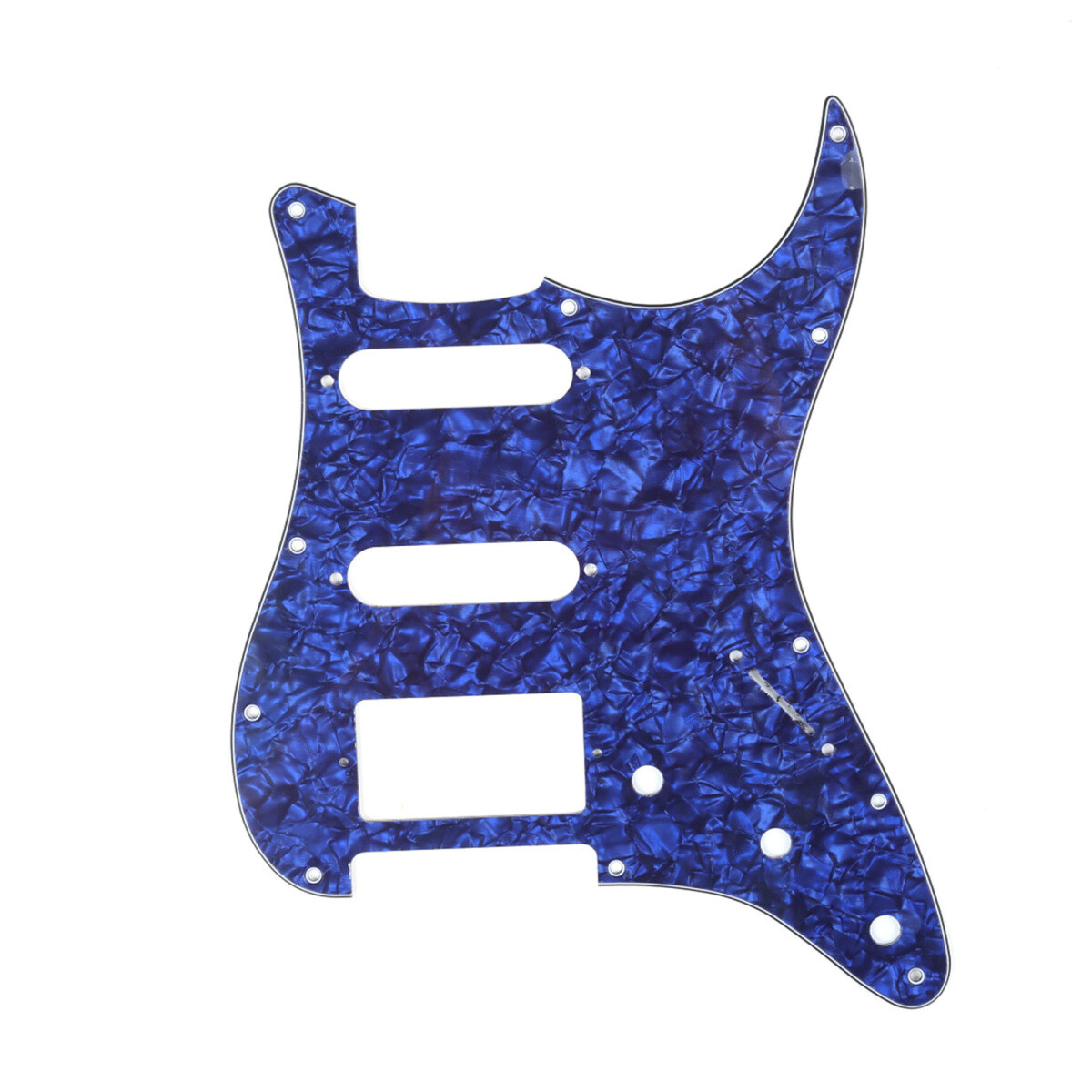 Brio 11-Hole Modern Style Strat HSS Pickguard for American Stratocaster Pearl Blue