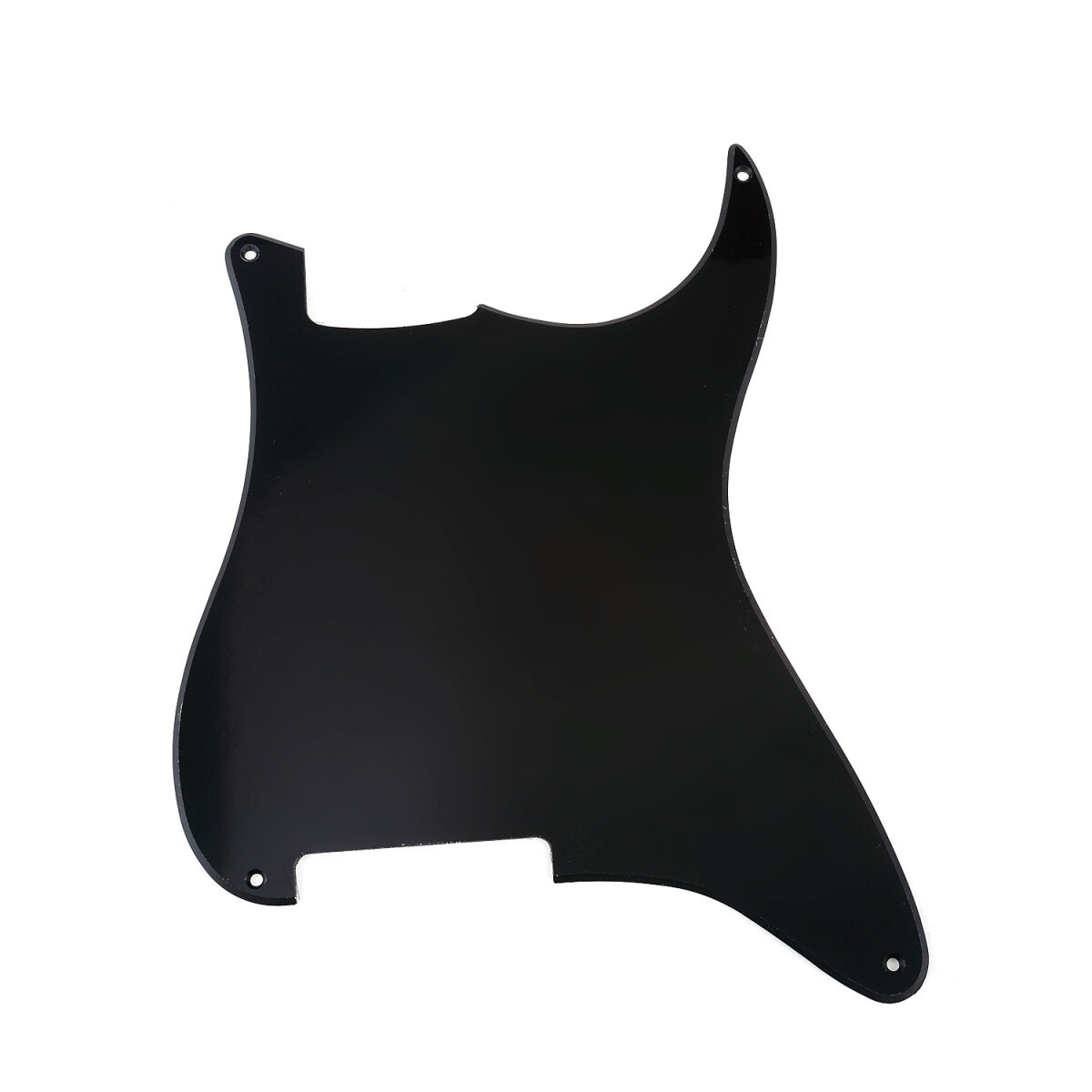 Brio Blank 4 hole outline pickguard for Strat®, 1 Ply Glossy Black