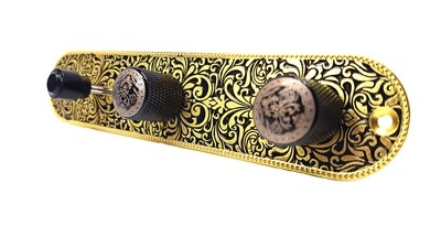 Fully Loaded Brio Metal Engraved Tele Control Plate GOLD ON BLACK