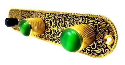 Brio Metal Engraved Tele Control Plate GOLD ON BLACK w/Green Gem Knobs