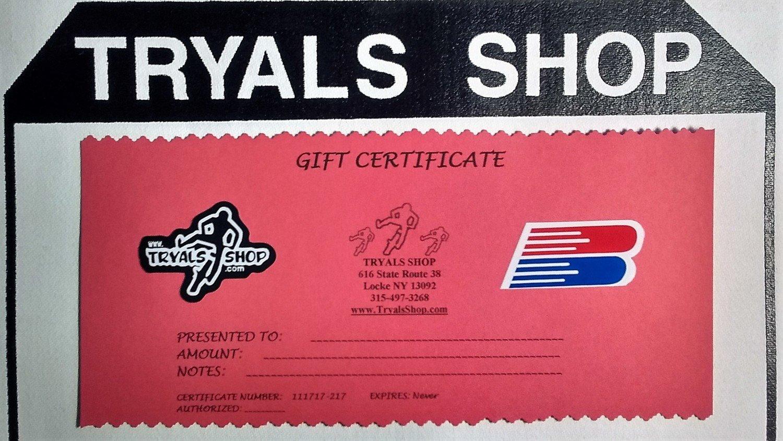 Tryals Shop Gift Certificate