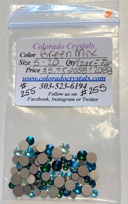 Green Mix Swarovski Crystals