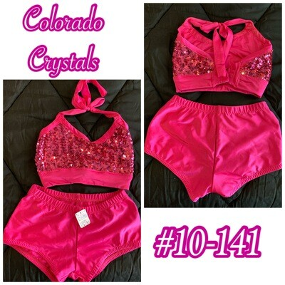 Pink used sequin outfit for dance