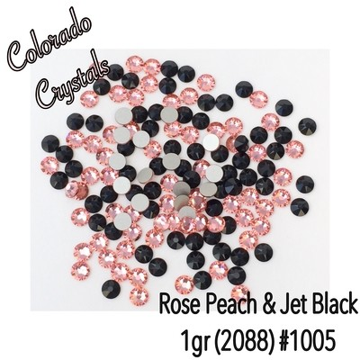 Peach and Black Combo pack of Swarovski 2088 size 20s