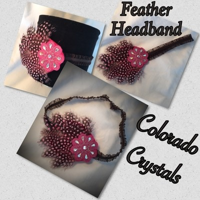 Headband Swarovski Crystals Stretch with feather