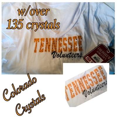 Rhinestoned College Tshirt Tennessee white