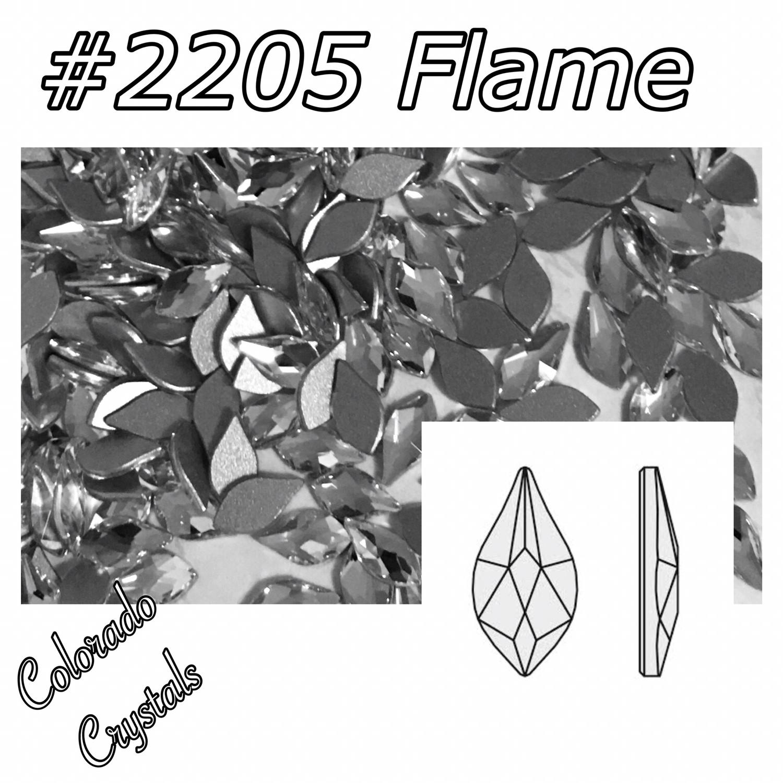 2205 Flame Flat back Swarovski  7.5mm Crystal