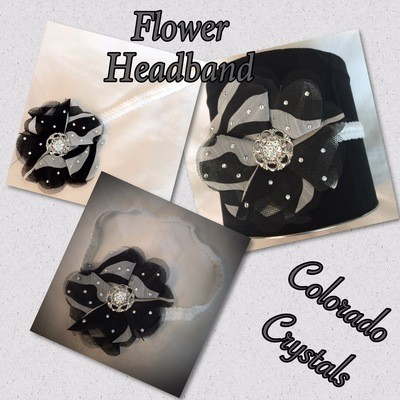Headband Swarovski Embellished - Stretch B&W