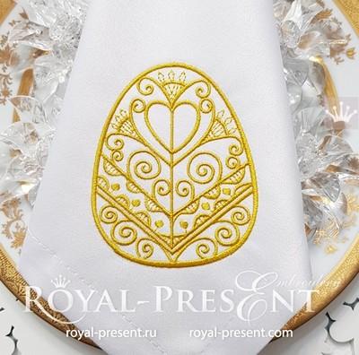Дизайн машинной вышивки Золотое Пасхальное яйцо - 3 размера