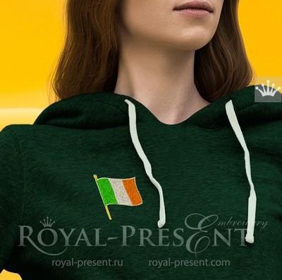 Дизайн машинной вышивки Флаг Ирландии - 3 размера