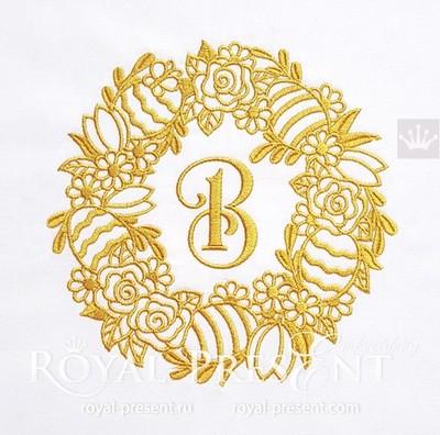 Золотой пасхальный венок для машинной вышивки - 5 размеров