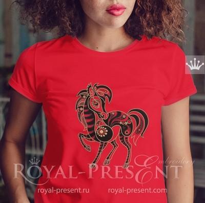 Дизайн машинной вышивки Лошадь - 4 размера