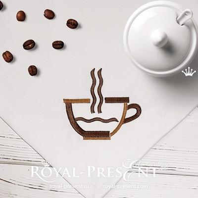Стилизованная кофейная чашка Бесплатный Дизайн машинной вышивки