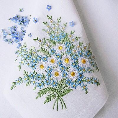 Набор из 3 дизайнов машинной вышивки Незабудки и ромашки