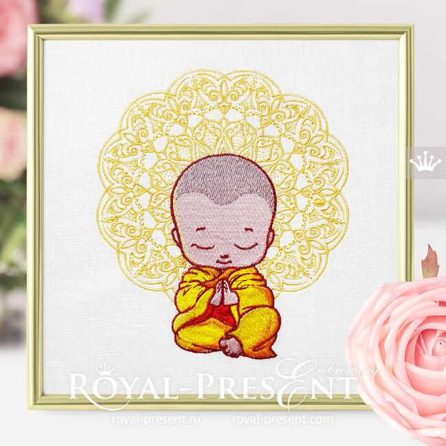 Дизайн машинной вышивки Маленький Будда молится - 2 размера